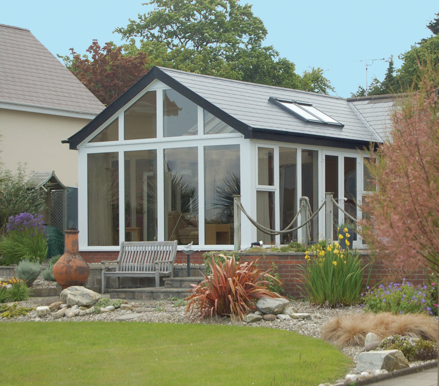 Delta Solid Roof Gable Slate with Rooflights