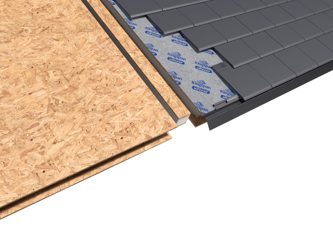Celsius Solid Roof Render - SIP Panels, One-way Breathable Membrane, Eurotile