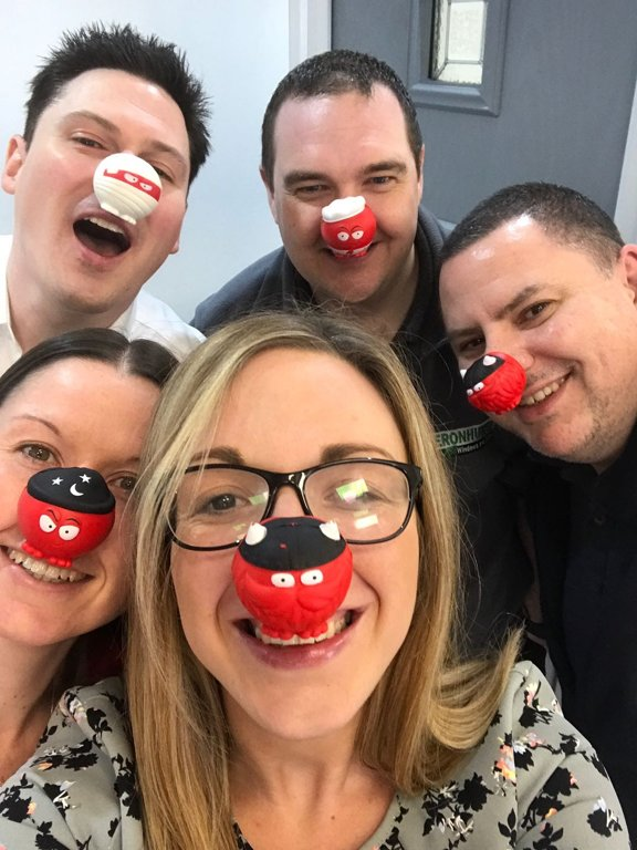 Team Heronhurst on Red Nose Day, Andy Hill, Andrew West, Susan West, Sion Bridgeman, Penny Knight