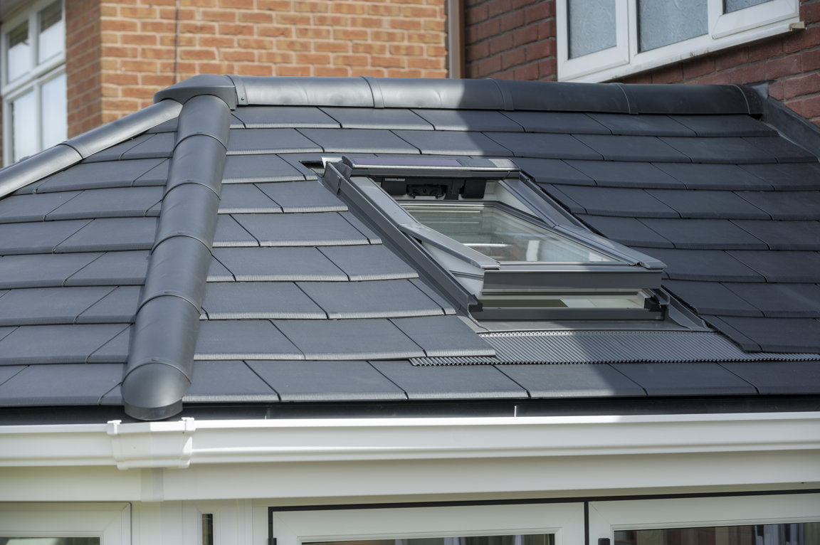 Celsius Solid Roof Render - External view, victorian, with Rooflight from Velux